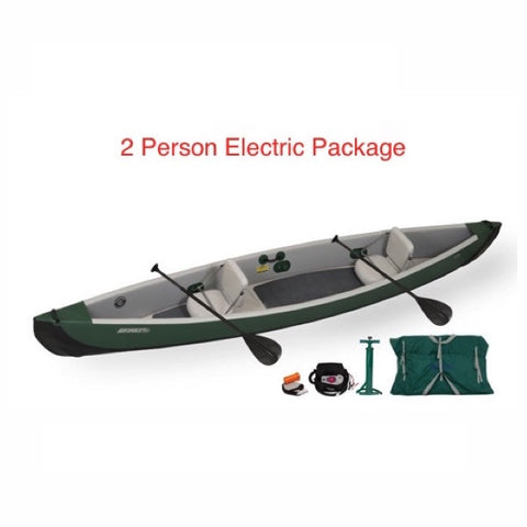 Sea Eagle Inflatable Canoe 16 2 Person Electric Package display view.