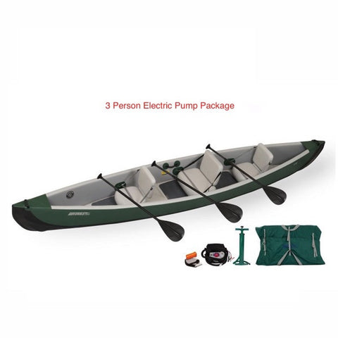 Sea Eagle Inflatable Canoe 16 3 Person Electric Package display view