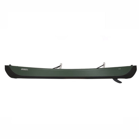 Sea Eagle Inflatable Canoe 16 side view. You can see the rudder underneath the green shell of the Sea Eagle Inflatable Canoe