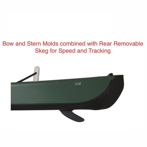Sea Eagle Inflatable Canoe 16 bow and stern molds with removable skeg side view.