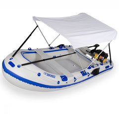 Sea Eagle Wide Canopy for Inflatable Boat - White - attached to Sea Eagle Inflatable Runabout Boat.