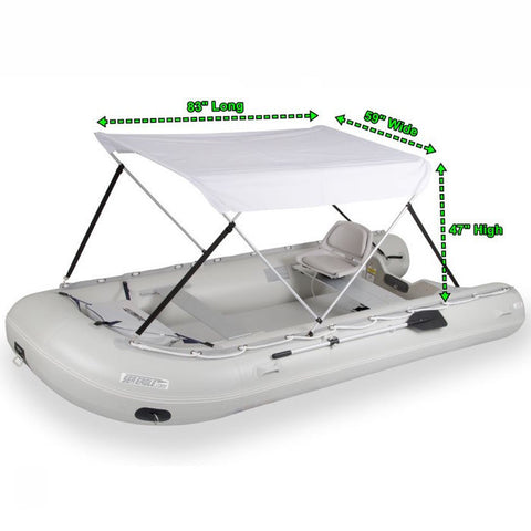 "Sea Eagle 12.6sr and 14sr Wide Canopy - White, boat dimensions also displayed 83"" L x 59"" W x 47"" H"