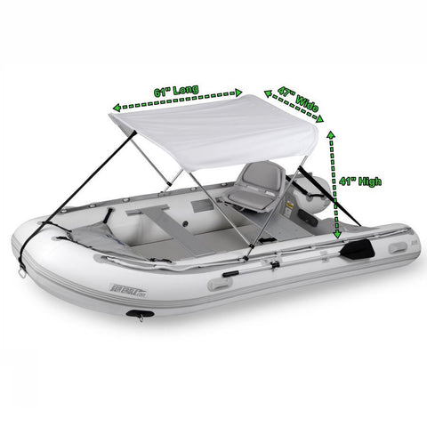 Sea Eagle Sun and Rain Canopy - Dimensions with diagram, canopy shown attached to the inflatable boat with the dimensions next to the canopy.
