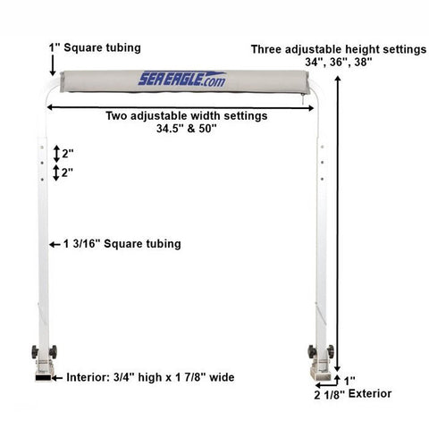 Sea Eagle Casting Bar for FoldCat - Diagram and dimensions of Inflatable Boat Accessories -  Sea Eagle - Splashy McFun Watersports