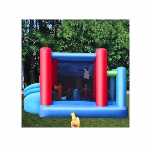 KidWise Celebration Bounce House and Tower Slide | Back view of the KidWise Bouncer outdoors in the backyard.  The KidWise Bounce house is predominantly Royal blue, light blue, and red with some green and orange accents.  KidWise Bouncer banner over the bounce house curved slide.