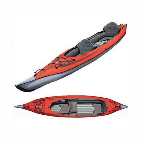 Top view and top/slide display view of the Red Advanced Elements AdvancedFrame Convertible Inflatable Kayak with grey anterior. Image on a white background.