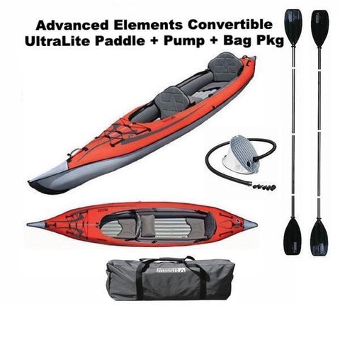 Advanced Elements Convertible Kayak Package. Convertible Kayak + UltraLite Paddle + Foot Pump