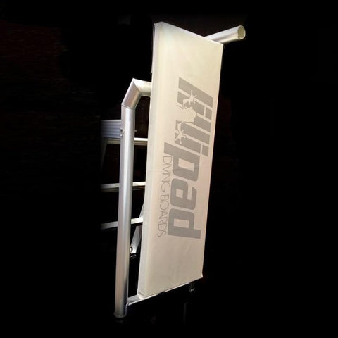 Lillipad Boat Diving Board Cover - Light Grey with the Lillipad Diving Board logo in dark grey.  Display picture against a black background.