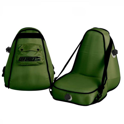 Sea Eagle Deluxe Inflatable Kayak Seat Green closeup view.