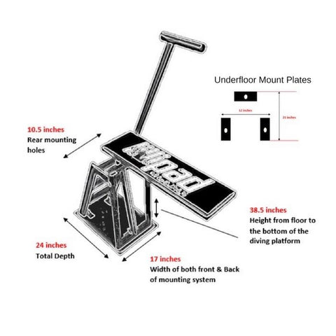 Lillipad Boat Diving Board - Surface Mount mounting dimensions layout.