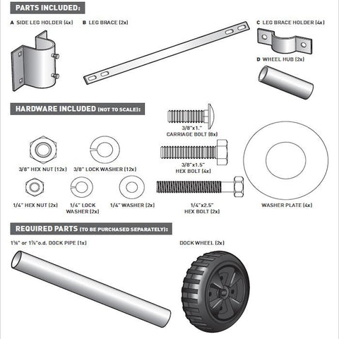 This shows all of the parts that are included with the Dock Edge Dock Wheel Axel Kit