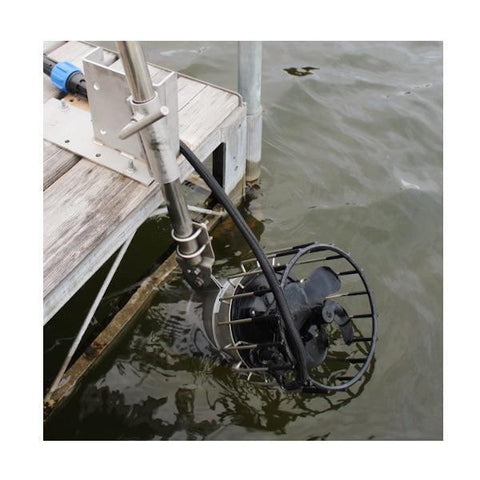A Kasco De Icer Dock Mount is in use and shown attached to a dock on a lake, closeup view of the de icer dock mount.