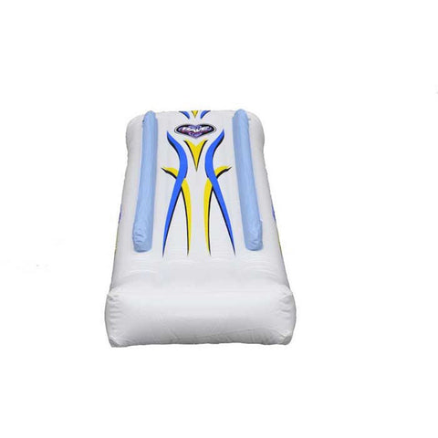 Rave Inflatable Dock Slide front view.  White slide with blue and yellow highlights.  Image is on a white background.
