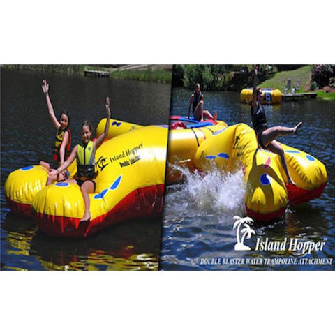 Cross section view of kids playing on the Island Hopper Double Blaster Water Trampoline Attachment, front right view and front left view.