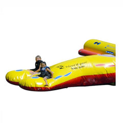1 kids sitting on the Island Hopper Double Blaster Water Trampoline Attachment.  Image on a white background.