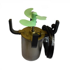 PowerHouse P750DP and P1000DP Dual Propeller Surface Aerator Motor Assembly Kit with light green double propeller attached to the motor canister with brackets attached and power cord hanging from 1 of 4 brackets.