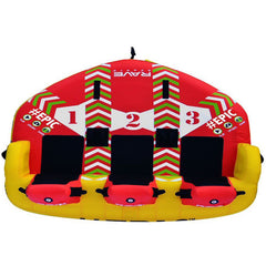 Top view of the RAVE #Epic 3 Person Towable Boat Tube.  Red, yellow, and white design with black padded seats for 3 riders
