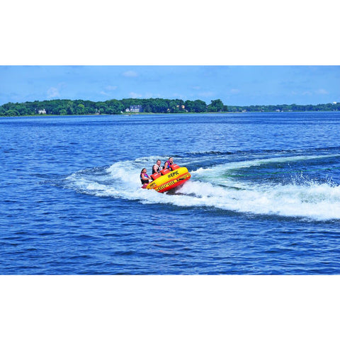 Yellow and Red RAVE #Epic 3 Person Towable Boat Tube pulled behind a boat on the lake.