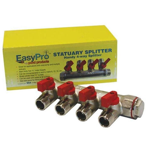 "Easy Pro SS4 3/4"" Statuary splitter 4-way – 1/2"" mpt outlets"