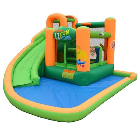 KidWise Endless Fun 11 in 1 Inflatable Bounce House and Water Slide display pic with a white background.  Green and orange design with blue splash pool.