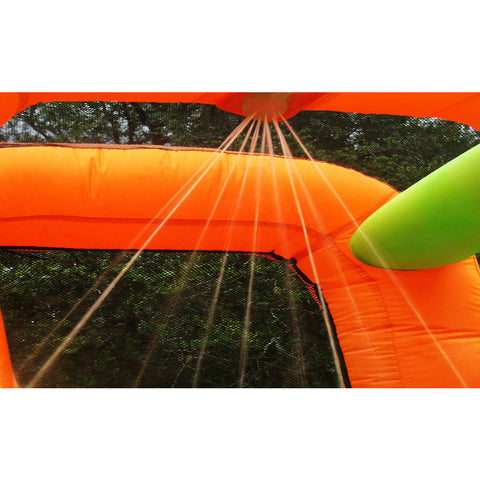 KidWise Endless Fun 11 in 1 Inflatable Bounce House and Water Slide mister closeup.