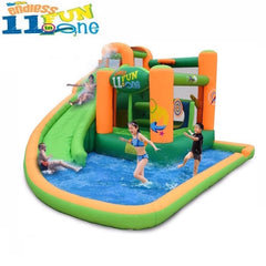 KidWise Endless Fun 11 in 1 Inflatable Bounce House and Water Slide with 2 kids sliding down the green slide and 2 more kids playing in the splash pool.  Pic has white background.