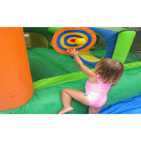 young girl playing ball game on KidWise Endless Fun 11 in 1 Inflatable Bounce House and Water Slide