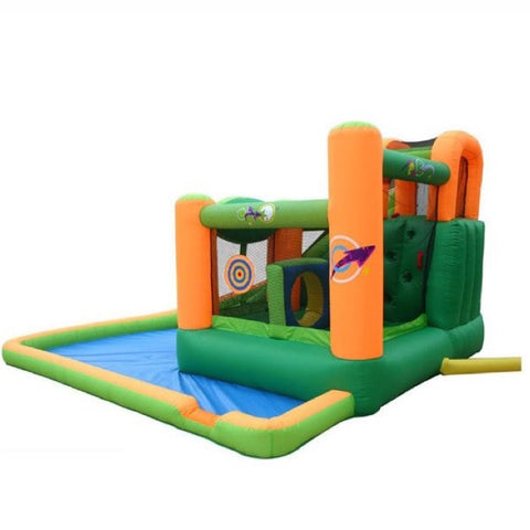 KidWise Endless Fun 11 in 1 Inflatable Bounce House and Water Slide sideview with white background.
