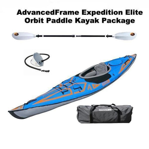 Advanced Elements AdvancedFrame Expedition Elite 1 Person Inflatable Orbit Paddle Kayak Package