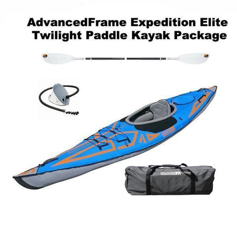 Advanced Elements AdvancedFrame Expedition Elite 1 Person Inflatable TwiLite Paddle Kayak Package