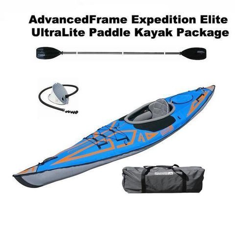 Advanced Elements AdvancedFrame Expedition Elite 1 Person Inflatable UltraLite Paddle Kayak Package