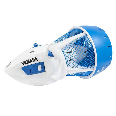 Yamaha Explorer Seascooter is shown from a left side view.  The Explorer Sea Scooter is white and blue.  The body is white, the fan cover is blue as is a latch on the body of the Yamaha Explorer Sea Scooter.  In black letters it also says Yamaha Explorer