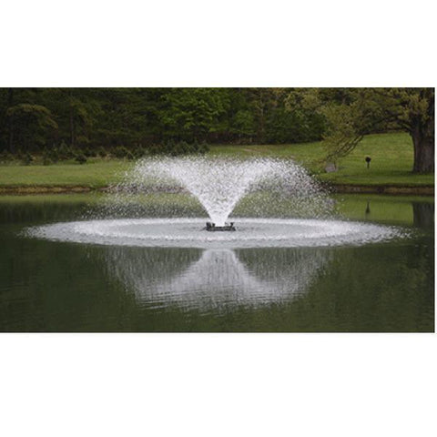 Power House F1000F 1 Hp Aerating Fountain spraying a perfect trumpet spray in the middle of a pond.