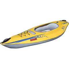 Advanced Elements FireFly Inflatable Kayak - 1 Person - Yellow with blue lettering and highlights, Grey interior.  Top/side display view.