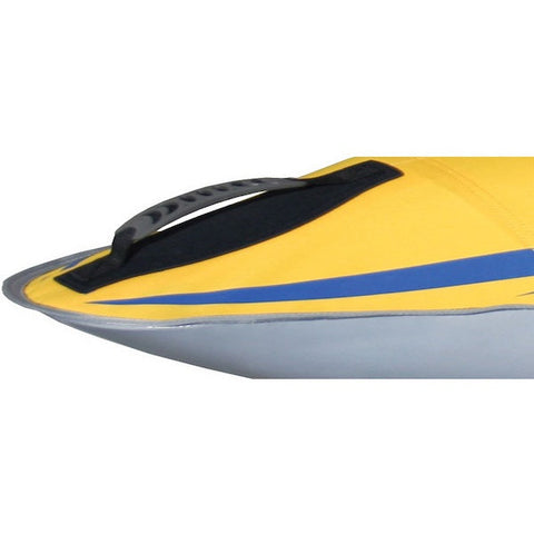 Close up of the nose and carry handle of the 1 person Advanced Elements FireFly Inflatable Kayak