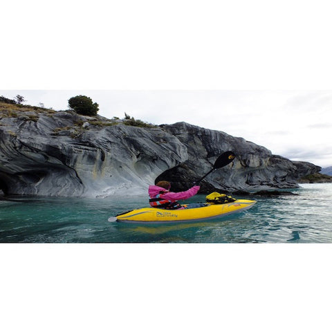 Advanced Elements Firefly Inflatable Kayak, yellow kayak, on the water, back view.