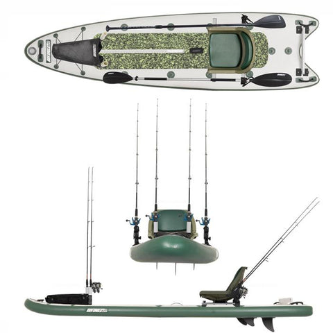 Sea Eagle FishSUP 126 Inflatable SUP top view, side view, front view.  You can clearly see the green and white design along with the black paddle and fishing rod mounts.  The Sea Eagle Inflatable Fishing SUP is shown from all angles.