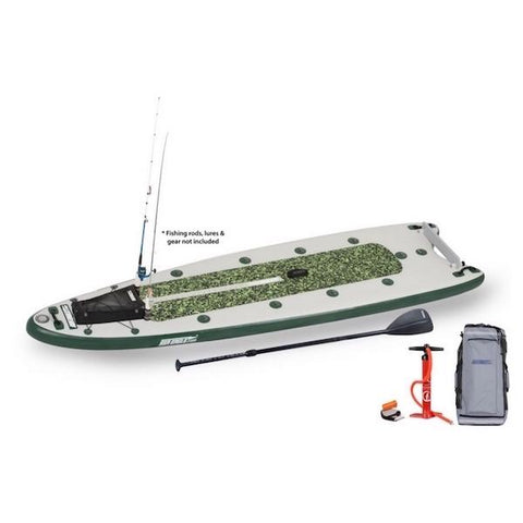 Green/White water camouflage Sea Eagle FishSUP 126 Inflatable SUP top display view with the bag and pump sitting next to the green and white Sea Eagle inflatable Fishing SUP.