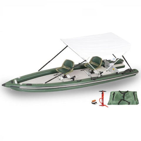 Sea Eagle FishSkiff 16 Inflatable Fishing Skiff Watersnake Motor Canopy Package Watersnake motor and white canopy top. Side display view with the bag and pump sitting next to the green Sea Eagle inflatable kayak.