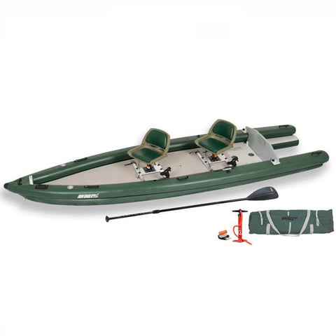 Sea Eagle FishSkiff 16 Inflatable Fishing Skiff top and side display view with the bag and pump sitting next to the Sea Eagle inflatable kayak.