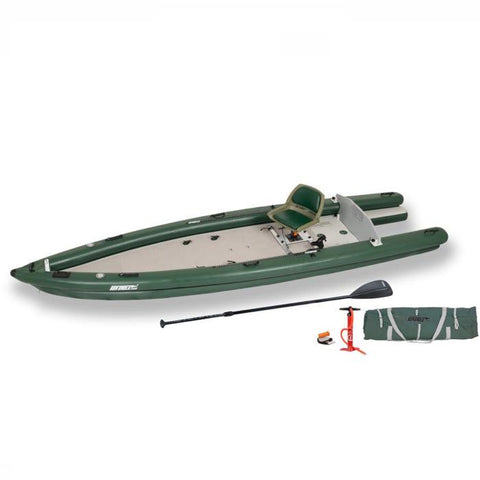 Sea Eagle FishSkiff 16 Inflatable Fishing Skiff top and side display view with the bag and pump sitting next to the Sea Eagle fishskiff.  Green hull and seat with grey floor and highlights.