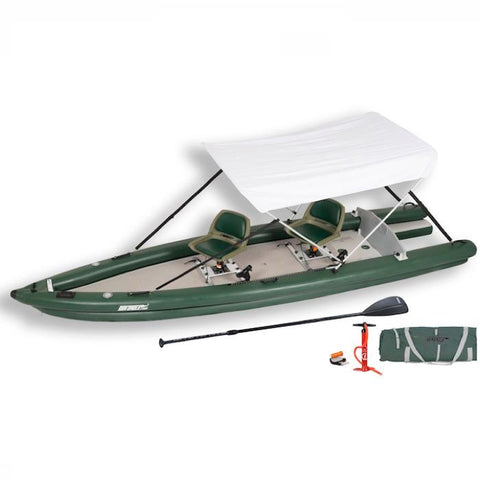 Sea Eagle FishSkiff 16 Inflatable Fishing Skiff with canopy top and side display view with the bag and pump sitting next to the Sea Eagle inflatable kayak.