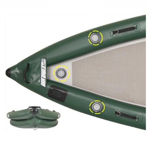 Sea Eagle FishSkiff 16 Inflatable Fishing Skiff nose close up, top view and front view.