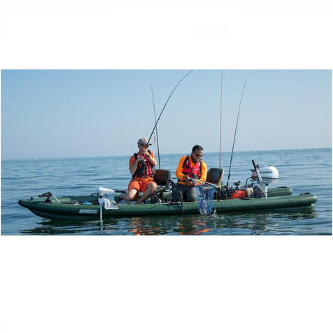Sea Eagle FishSkiff 16 Inflatable Fishing Skiff on the water with 2 men fishing.
