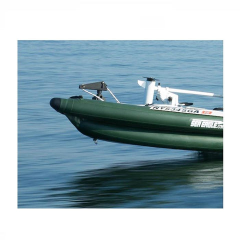 Sea Eagle FishSkiff 16 Inflatable Fishing Skiff nose close up while out on the water moving across the lake.
