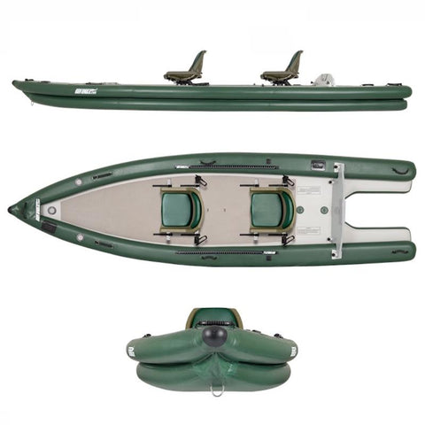 Sea Eagle FishSkiff 16 Inflatable Fishing Skiff - side view, top view, front view.