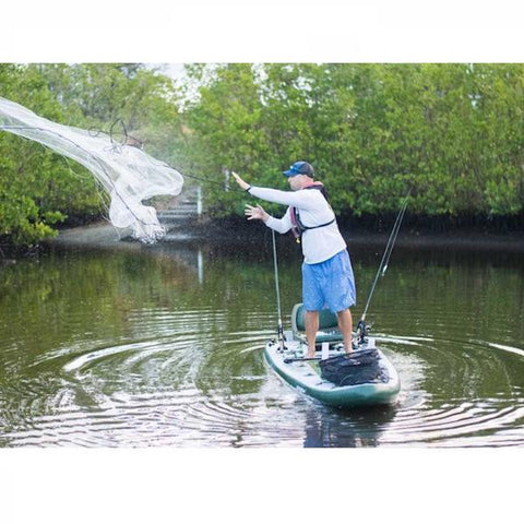 Throwing a net off a Sea Eagle FishSUP 126 Inflatable SUP.
