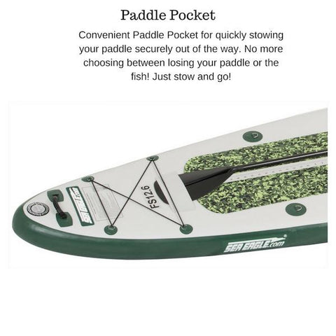 Sea Eagle FishSUP 126 Inflatable SUP paddle pocket closeup.