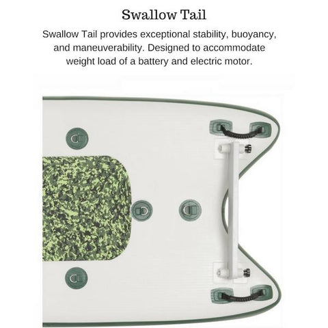 Sea Eagle FishSUP 126 Inflatable SUP swallow tail close up diagram.