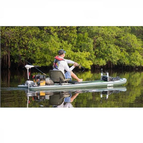 Sea Eagle FishSUP 126 Inflatable SUP sitting down fishing on the river.